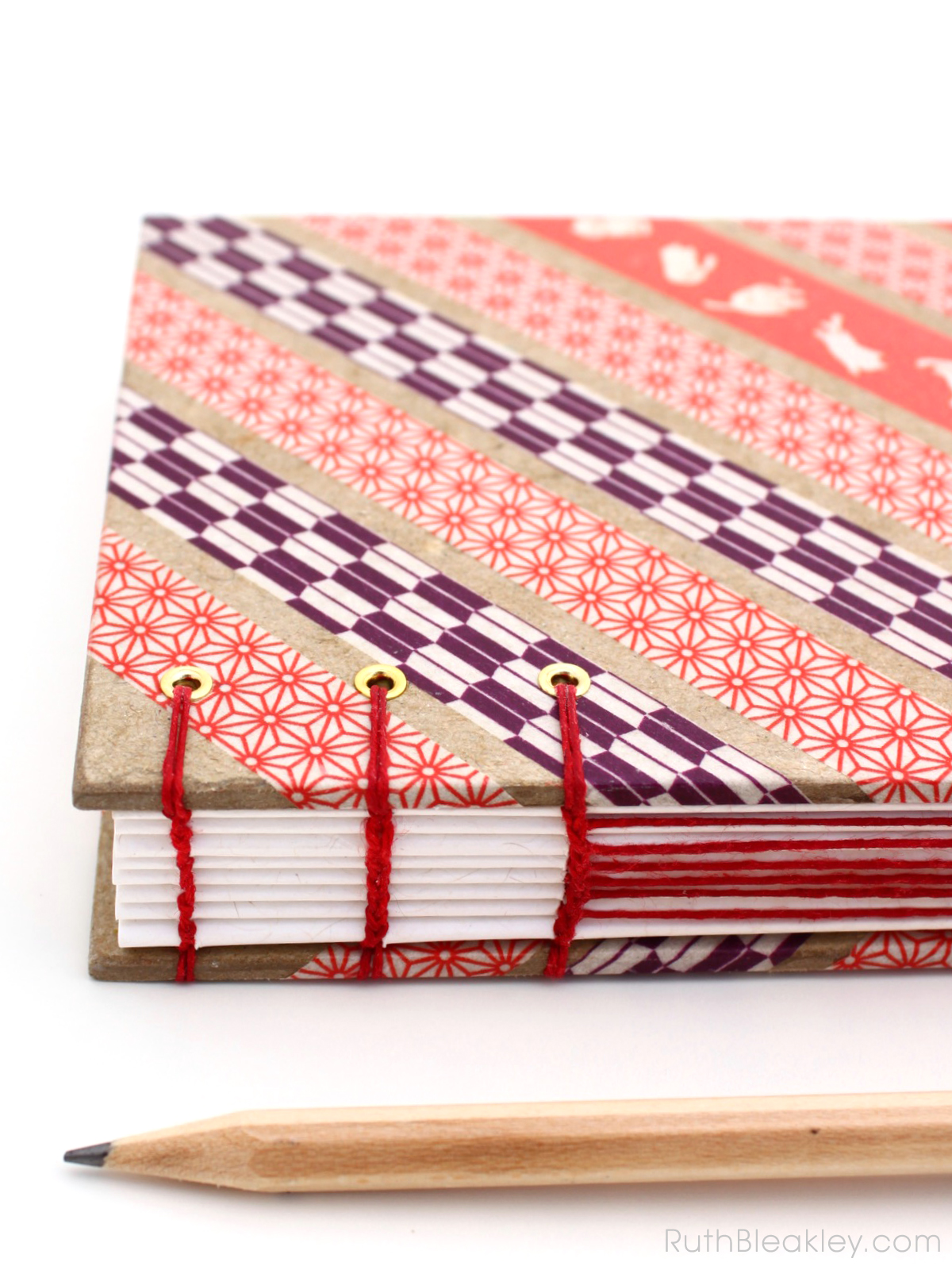 Red and Purple Geometric Washi Tape Journal handmade by Ruth Bleakley - 2