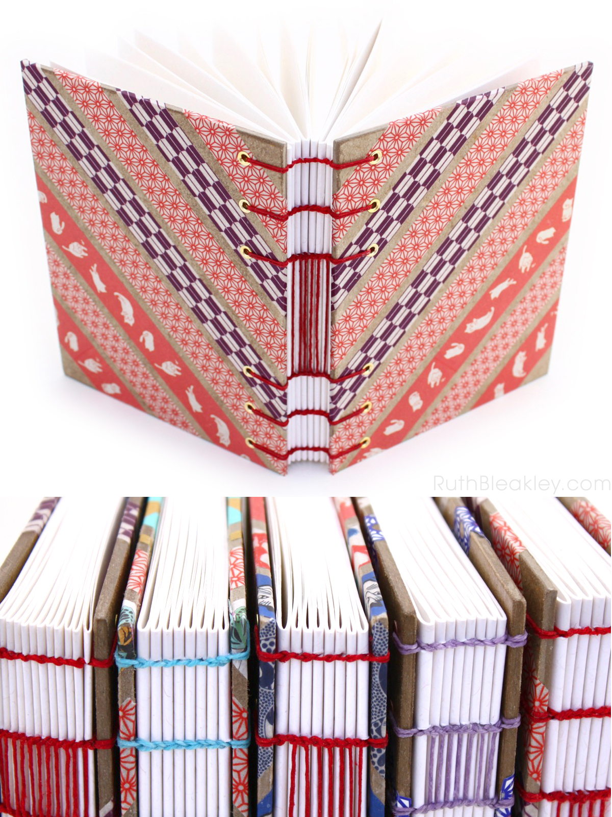 Red and Purple Geometric Washi Tape Journal handmade by Ruth Bleakley - 6