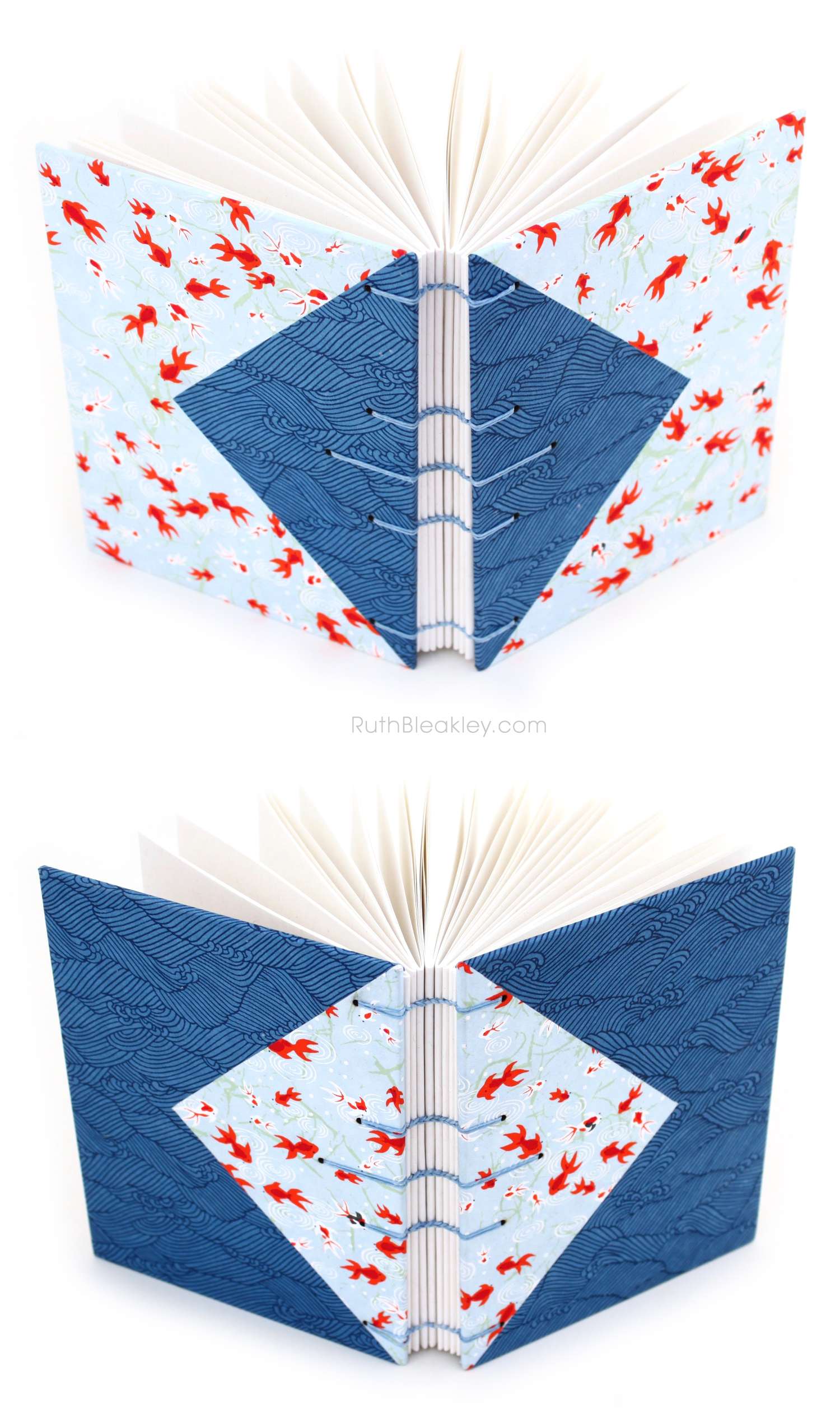 Twin Journals - Blue Waves and Goldfish - colorful Japanese paper books made by Ruth Bleakley