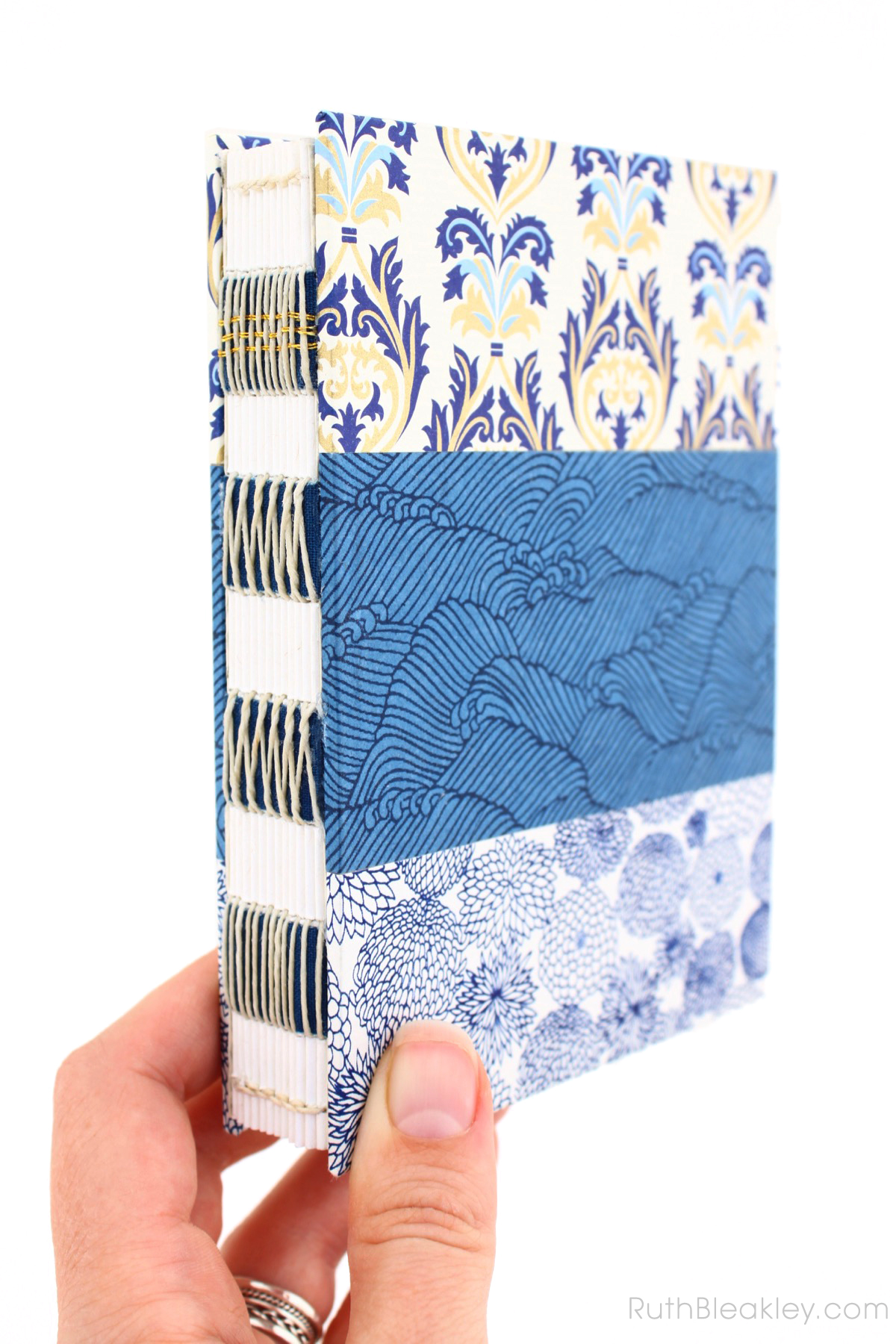 Florentine Waves French Link Journal handmade by Ruth Bleakley
