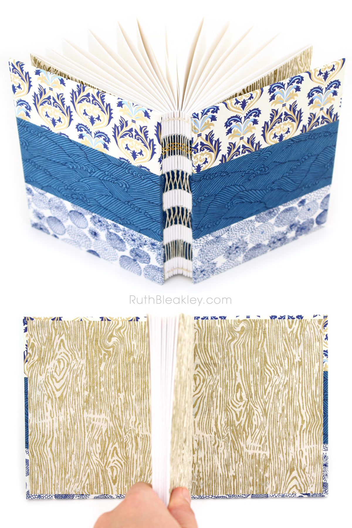Handmade Book with Blue Waves and Gold Florentine Paper from Ruth Bleakley - French Link Stitch