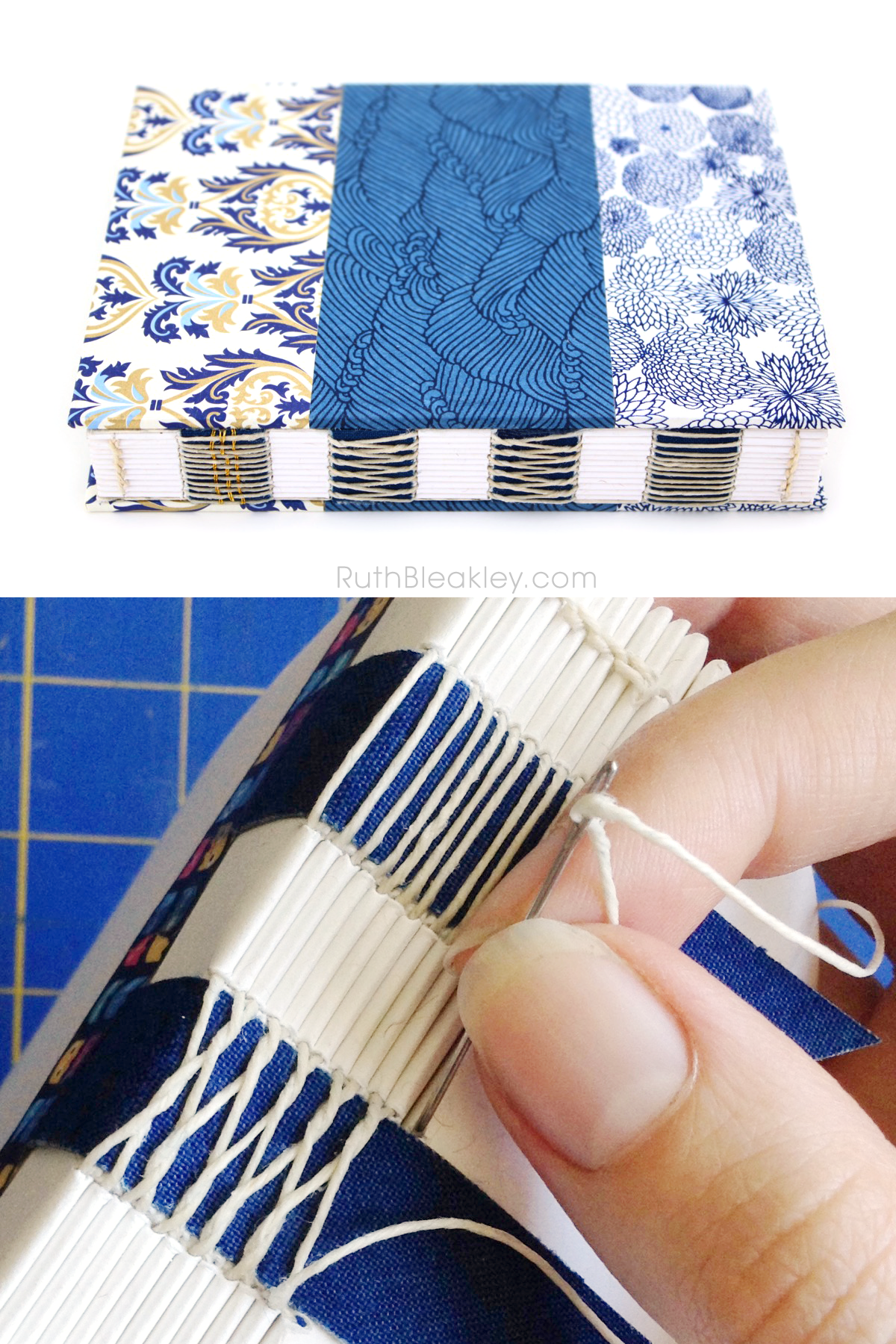 Handmade Journal with Blue Waves and Gold Florentine Paper from Ruth Bleakley - French Link Stitch
