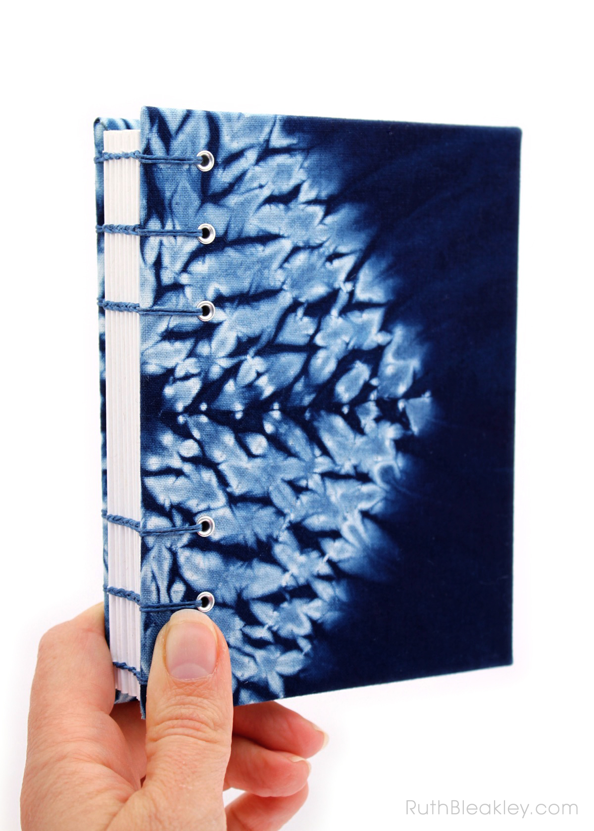Indigo Shibori Tie Dye Journal - hexagon - Ruth Bleakley - 1
