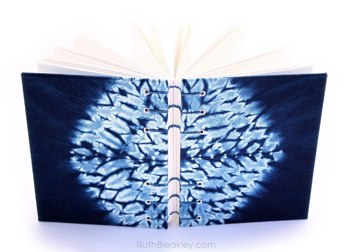 Indigo Shibori Tie Dye Journal - hexagon - Ruth Bleakley - 5