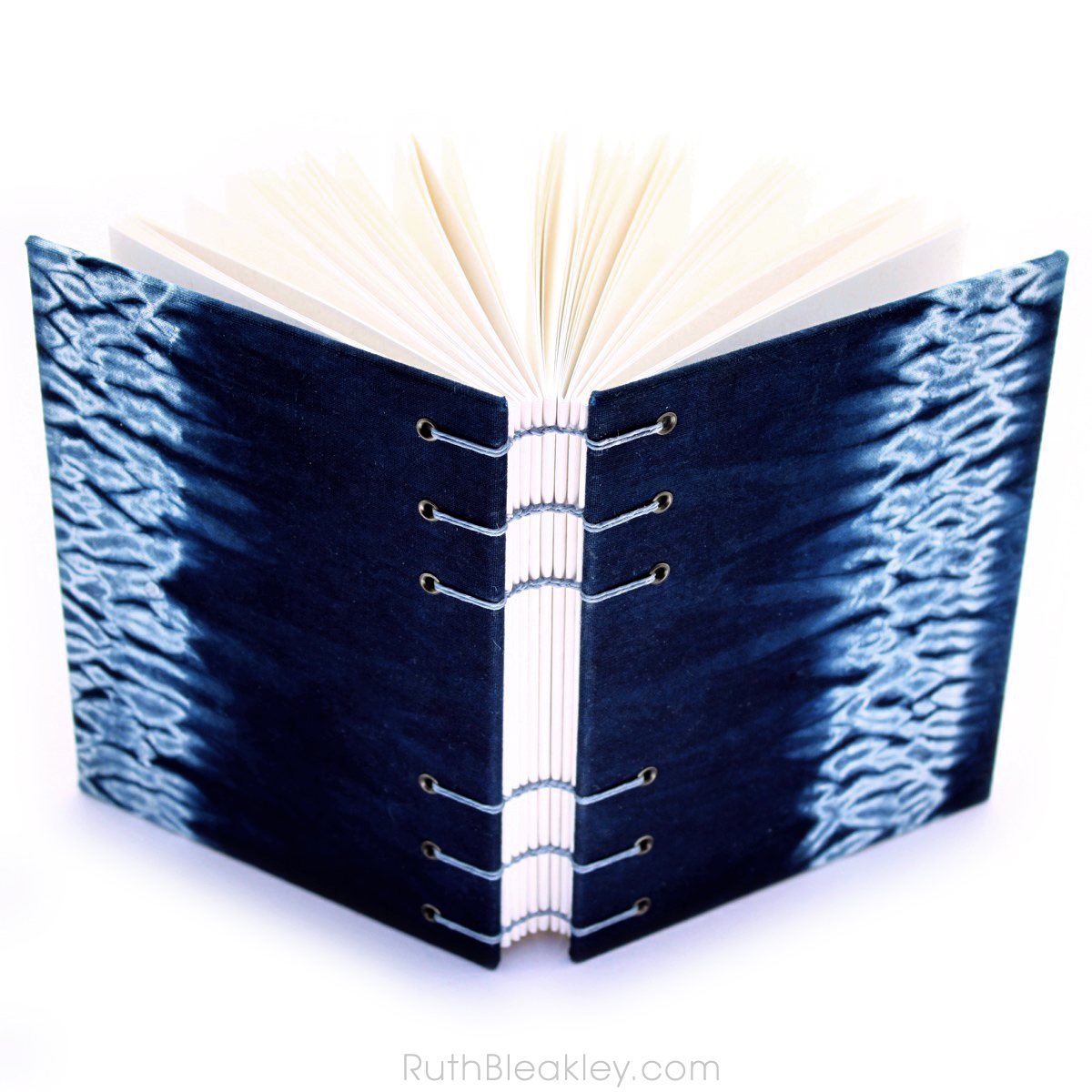 Indigo Shibori Tie Dye Journal - mokume woodgrain - Ruth Bleakley - 5
