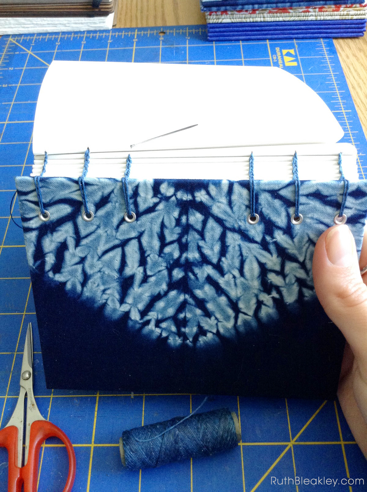 hand sewn Shibori Journals made by book artist Ruth Bleakley - 1