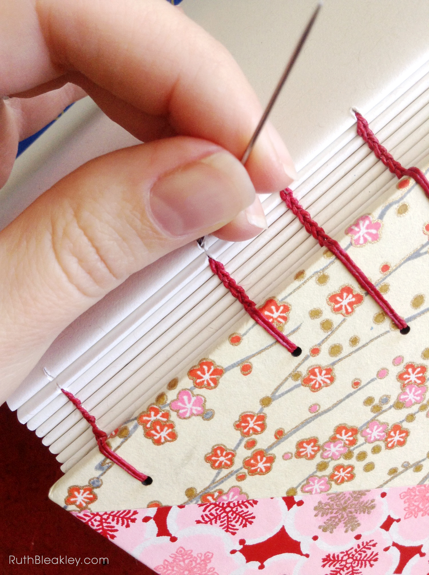Cherry Blossom Journal handmade by bookbinder Ruth Bleakley - coptic stitch bookbinding