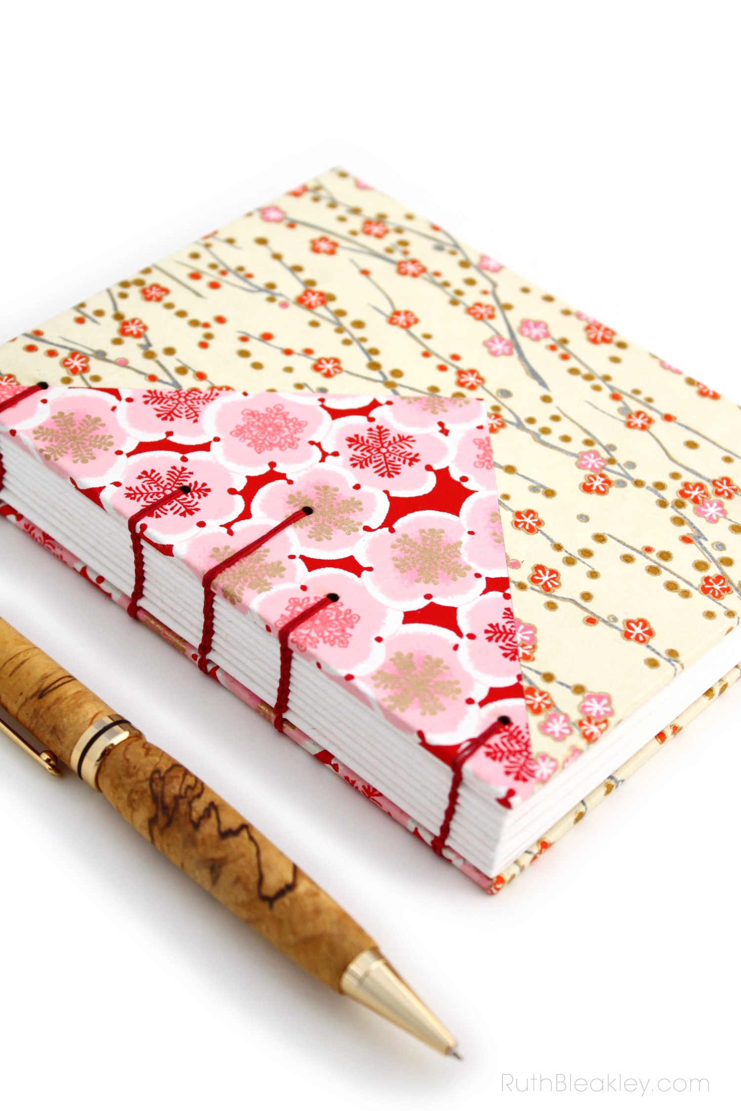 Cherry Blossom blank journal suitable for fountain pen made by Ruth Bleakley