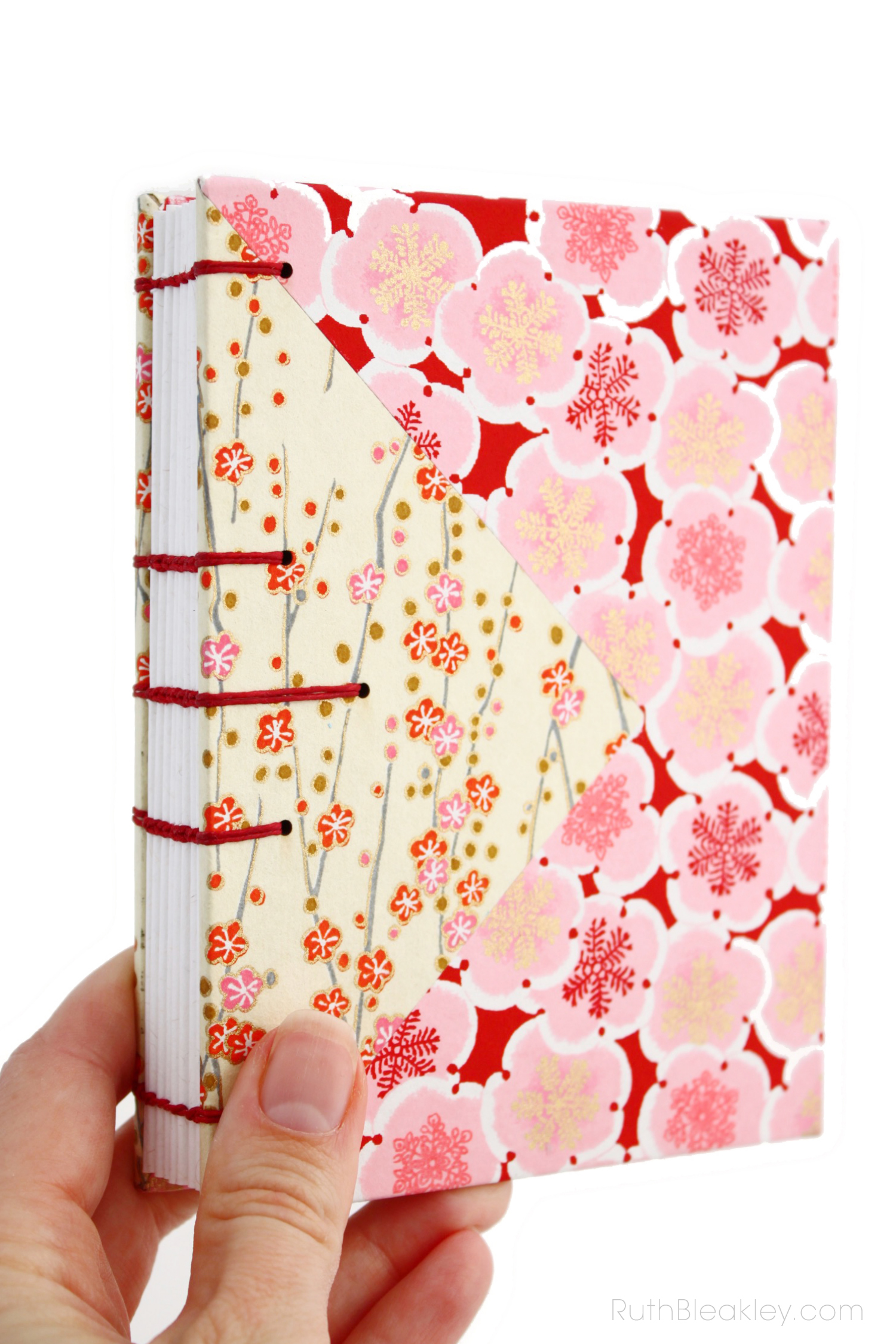Colorful unlined blank art journals handmade by Ruth Bleakley - cherry blossom