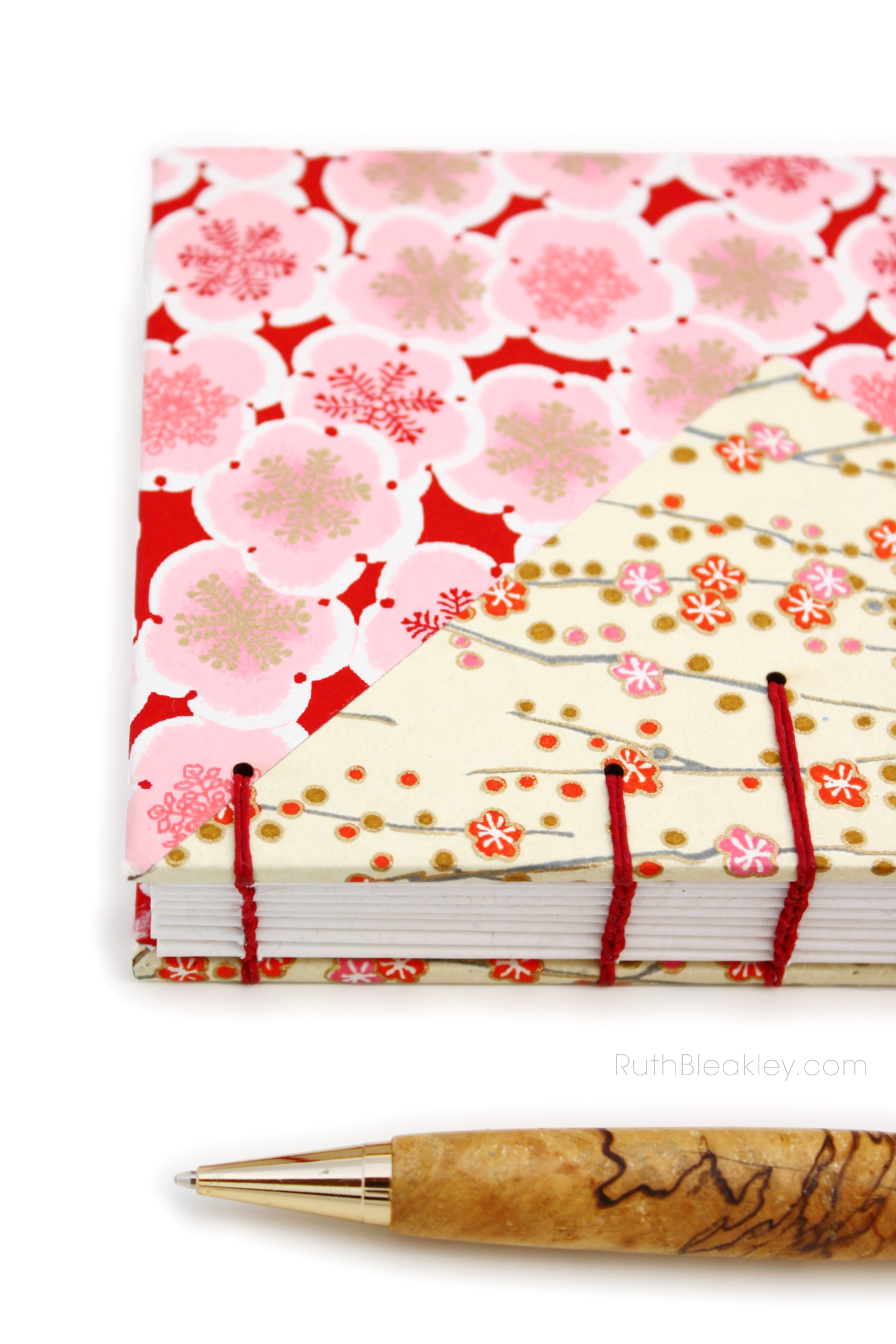 Cherry Blossom and Plum Blossom Twin Journals handmade by book artist Ruth Bleakley
