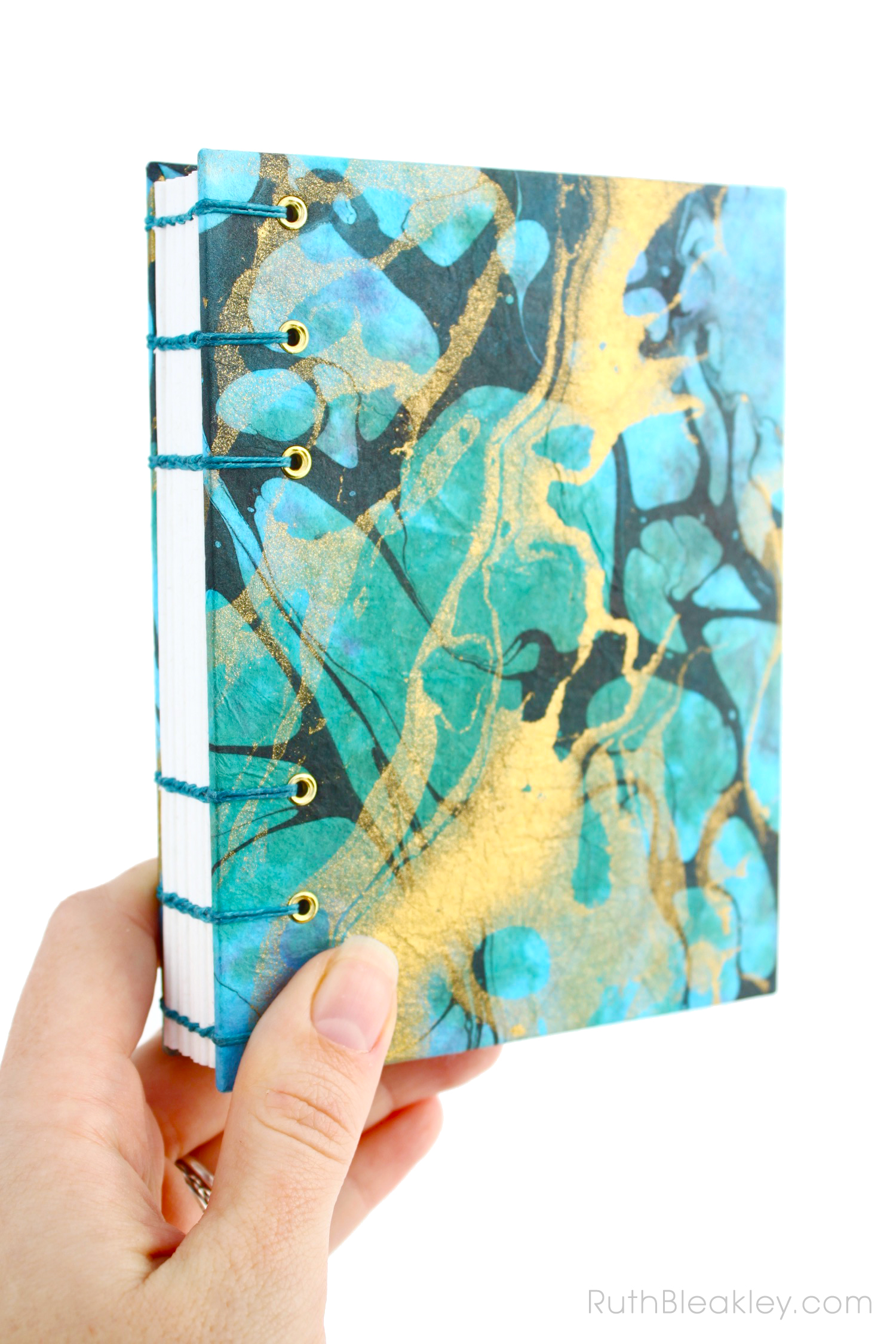 Unlined Blank Art Journal handmade by Ruth Bleakley from Marbled Paper - blue and gold