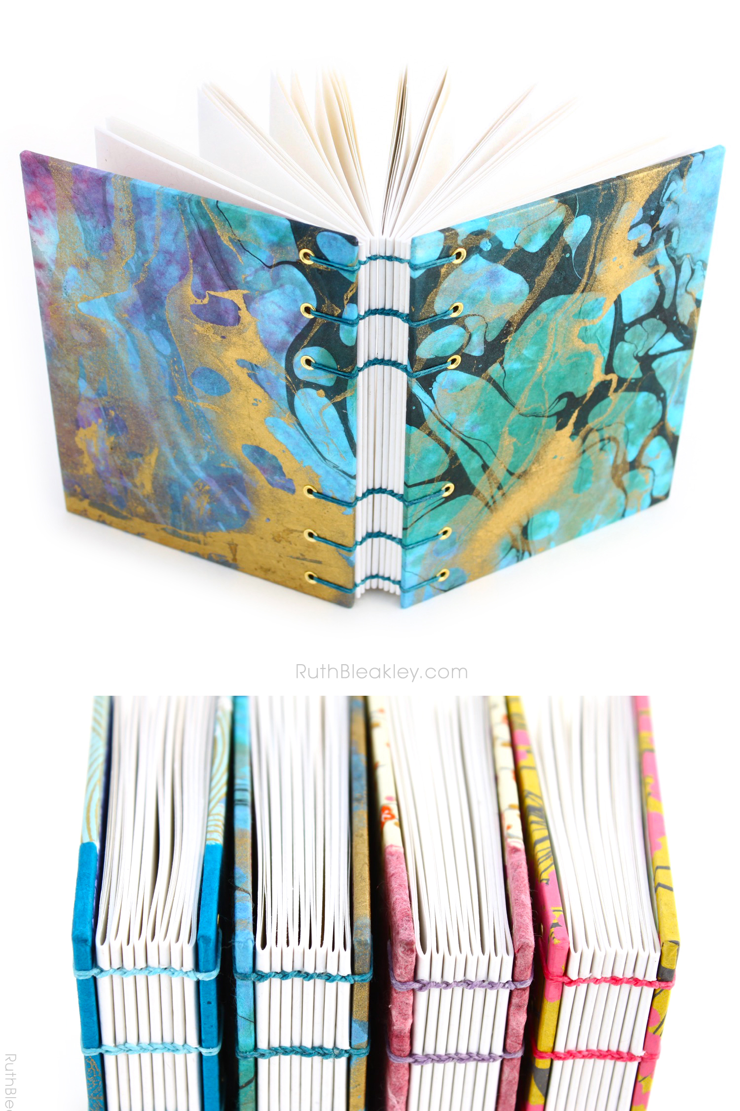 Marbleized Journal handmade by Ruth Bleakley from Marbled Paper - blue and gold