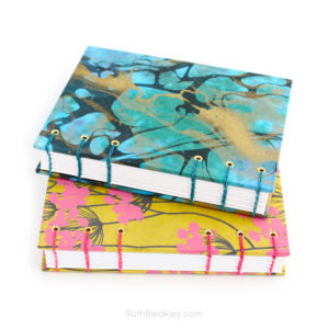 Unlined Blank Sketch Journal handmade by Ruth Bleakley from Indian floral paper - colorful gifts for artists