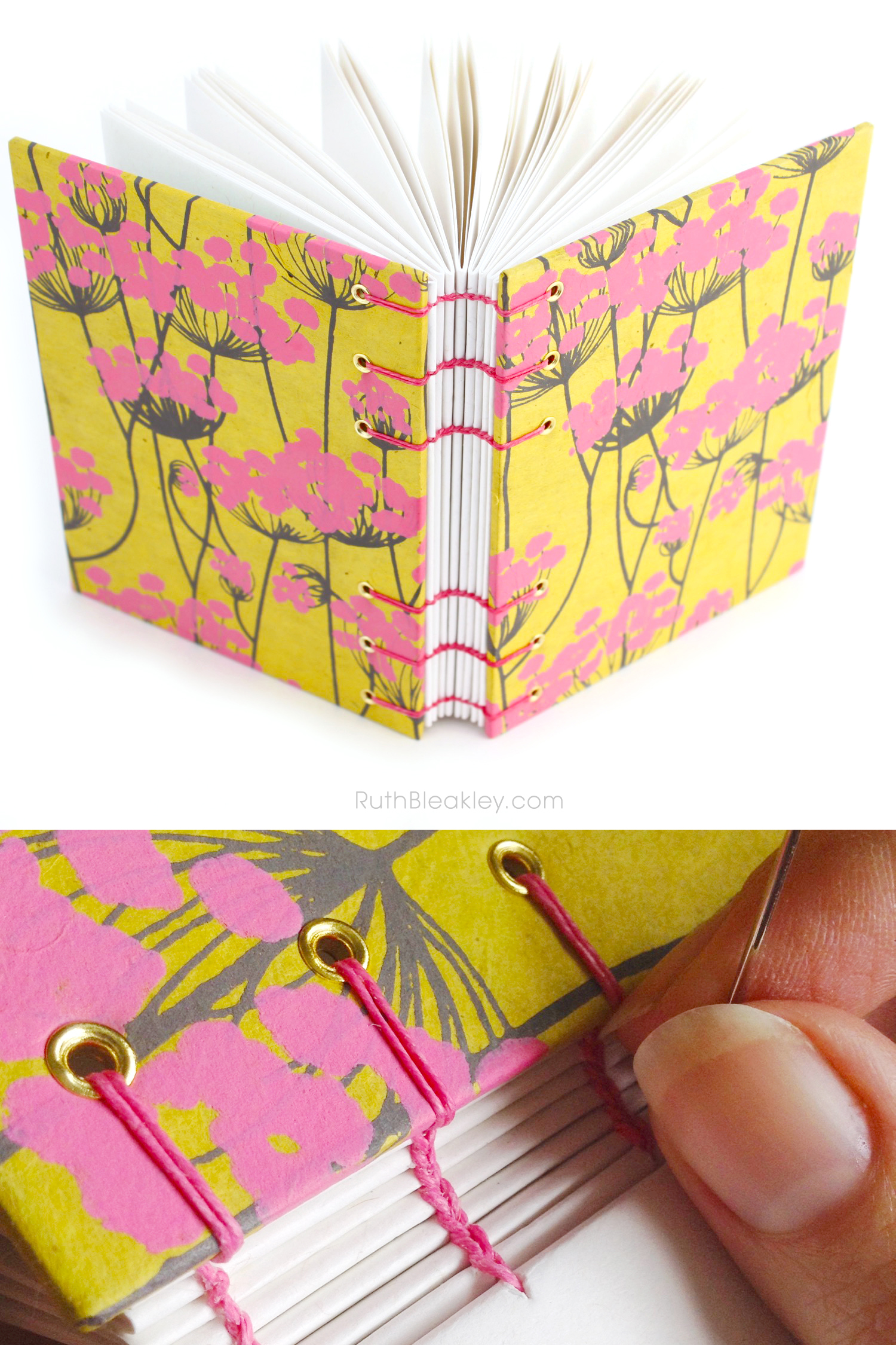 Ruth Bleakley makes handmade blank journals like this pink and yellow one with handmade paper from around the world