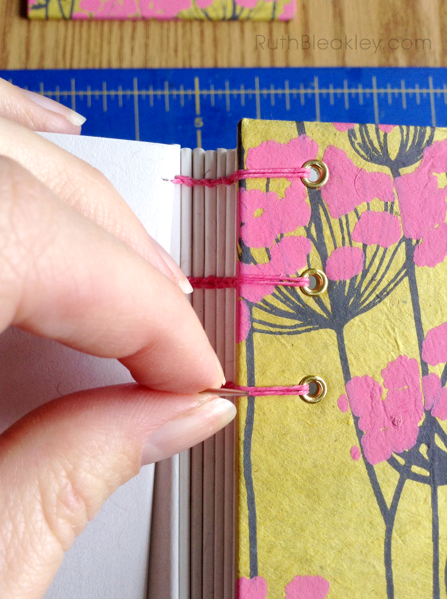 Coptic Stitch Journal handmade by Ruth Bleakley from Indian floral paper - yellow and pink