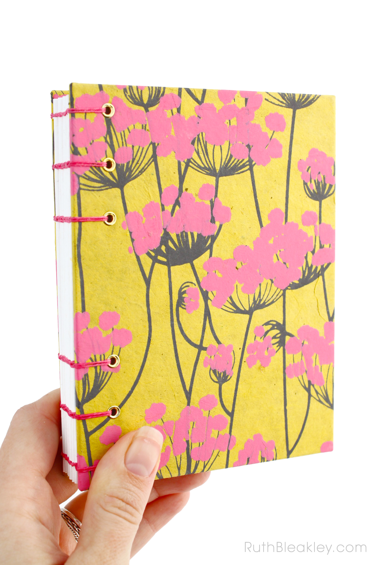 Unlined Blank Sketch Journal handmade by Ruth Bleakley from Indian floral paper - yellow and pink