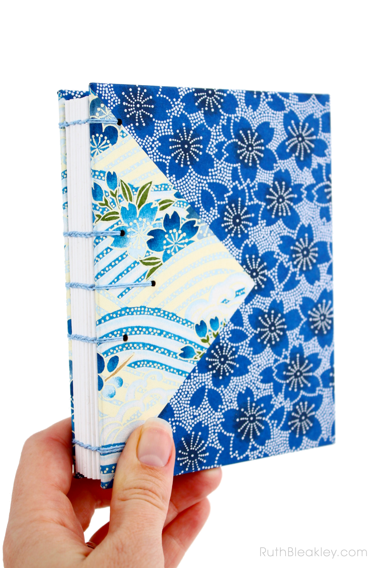 Blue flowers Twin Journals handmade by Ruth Bleakley Coptic Stitch with Japanese Yuzen Paper - 1