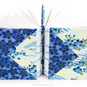 Blue flowers Twin Journals handmade by Ruth Bleakley Coptic Stitch with Japanese Yuzen Paper - 10