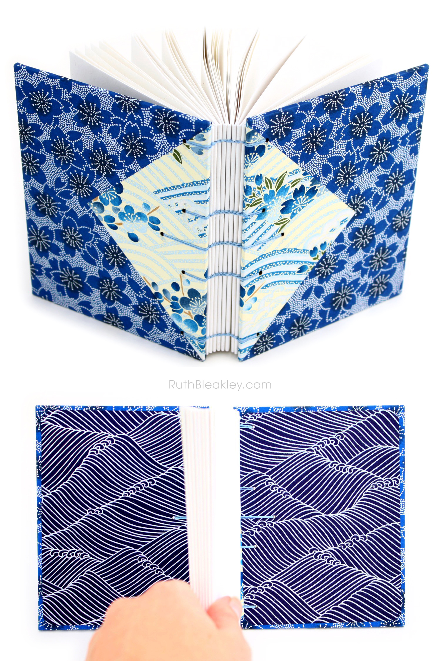 Blue flowers Twin Journals handmade by Ruth Bleakley Coptic Stitch with Japanese Yuzen Paper - 11