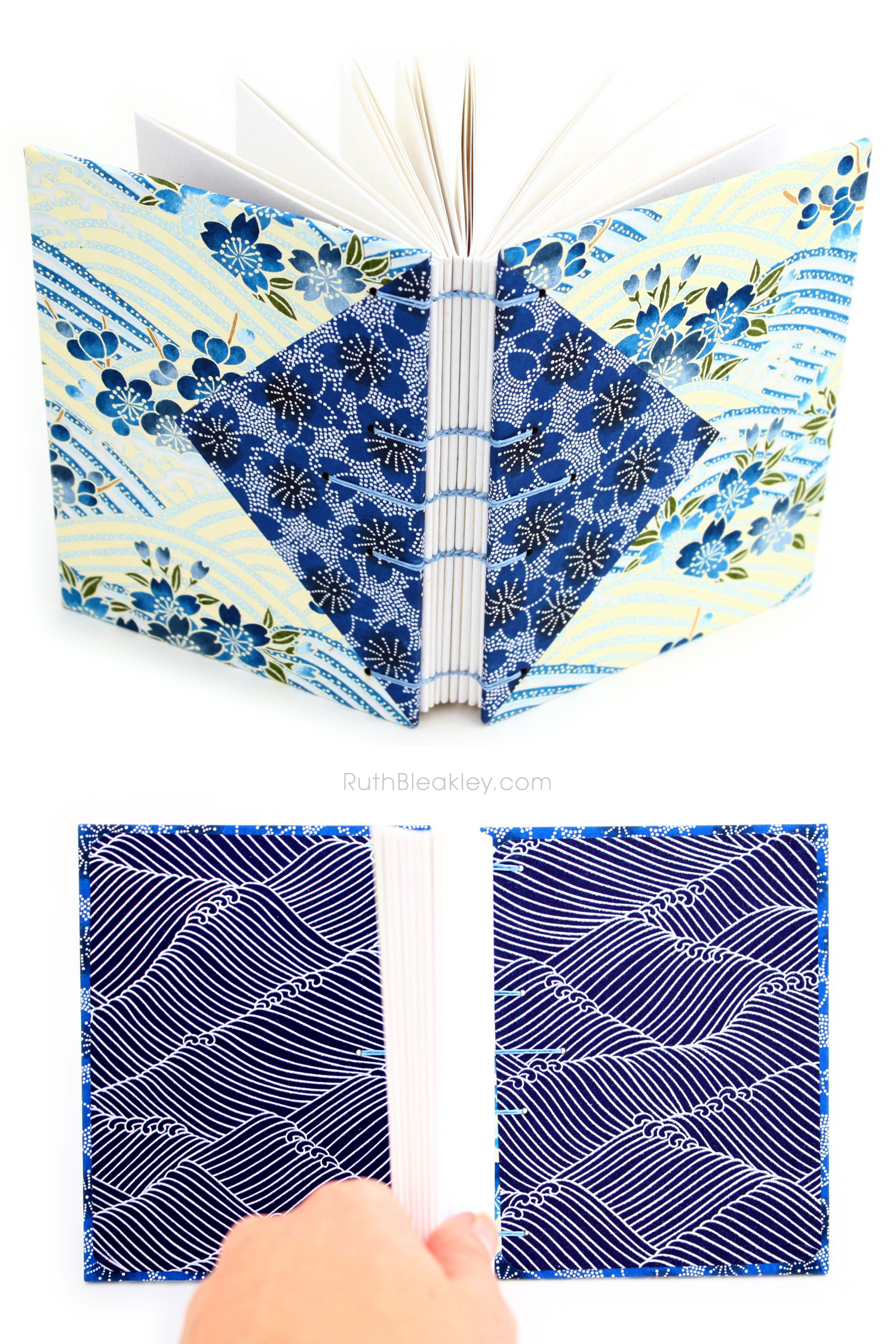 Blue flowers Twin Journals handmade by Ruth Bleakley Coptic Stitch with Japanese Yuzen Paper - 12