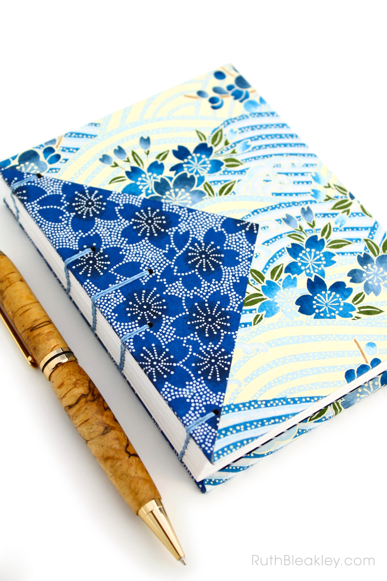 Blue flowers Twin Journals handmade by Ruth Bleakley Coptic Stitch with Japanese Yuzen Paper - 6