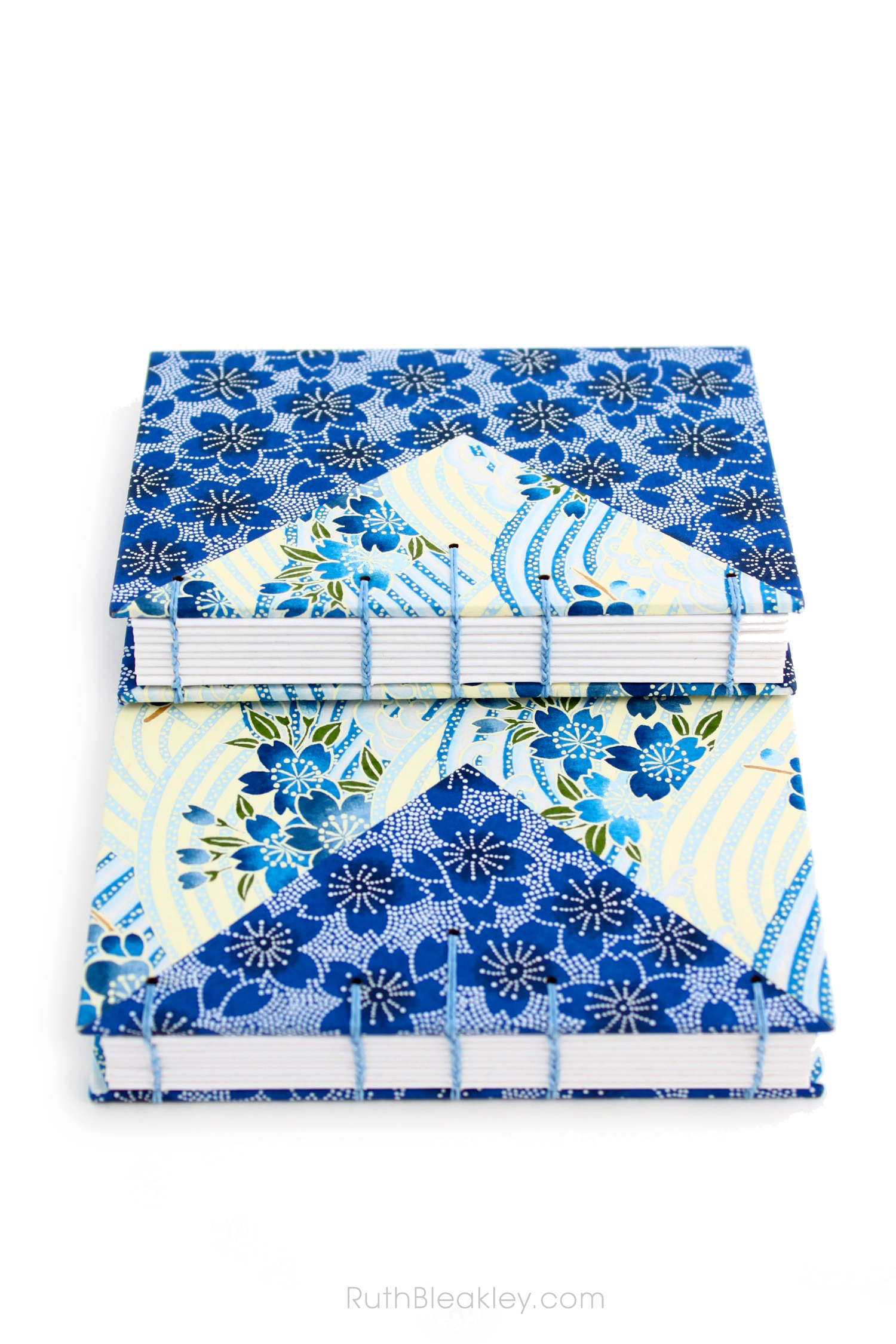 Blue flowers Twin Journals handmade by Ruth Bleakley Coptic Stitch with Japanese Yuzen Paper - 8