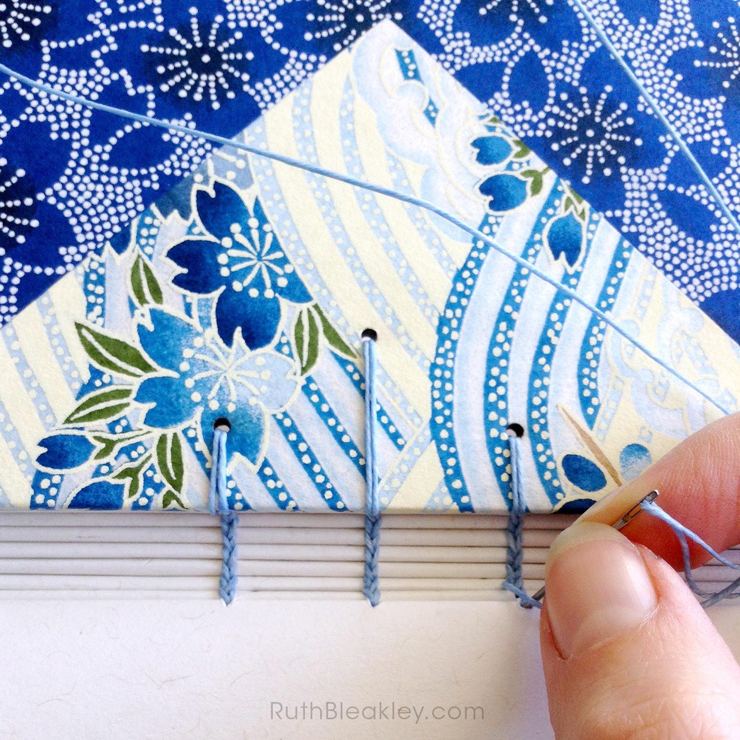 stitching coptic stitch books blue flower twin journal - Ruth Bleakley - 2