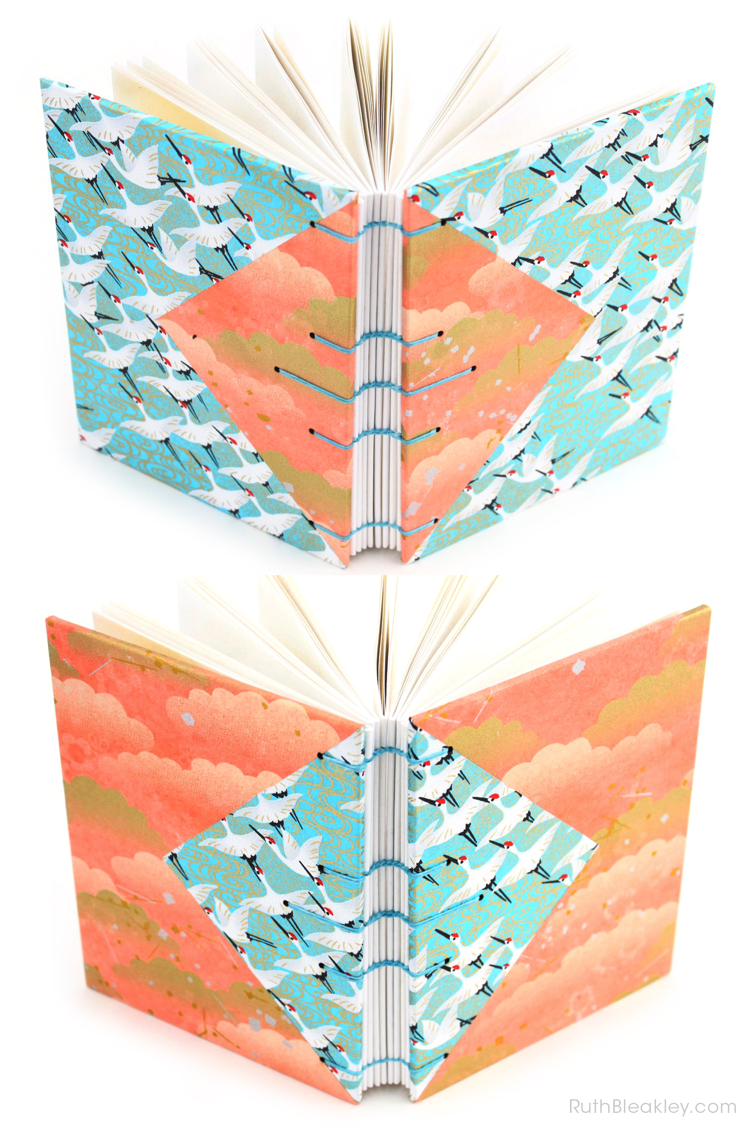 Blue Cranes and Peach Cloud Twin Journals by Ruth Bleakley that lay flat when open - 10