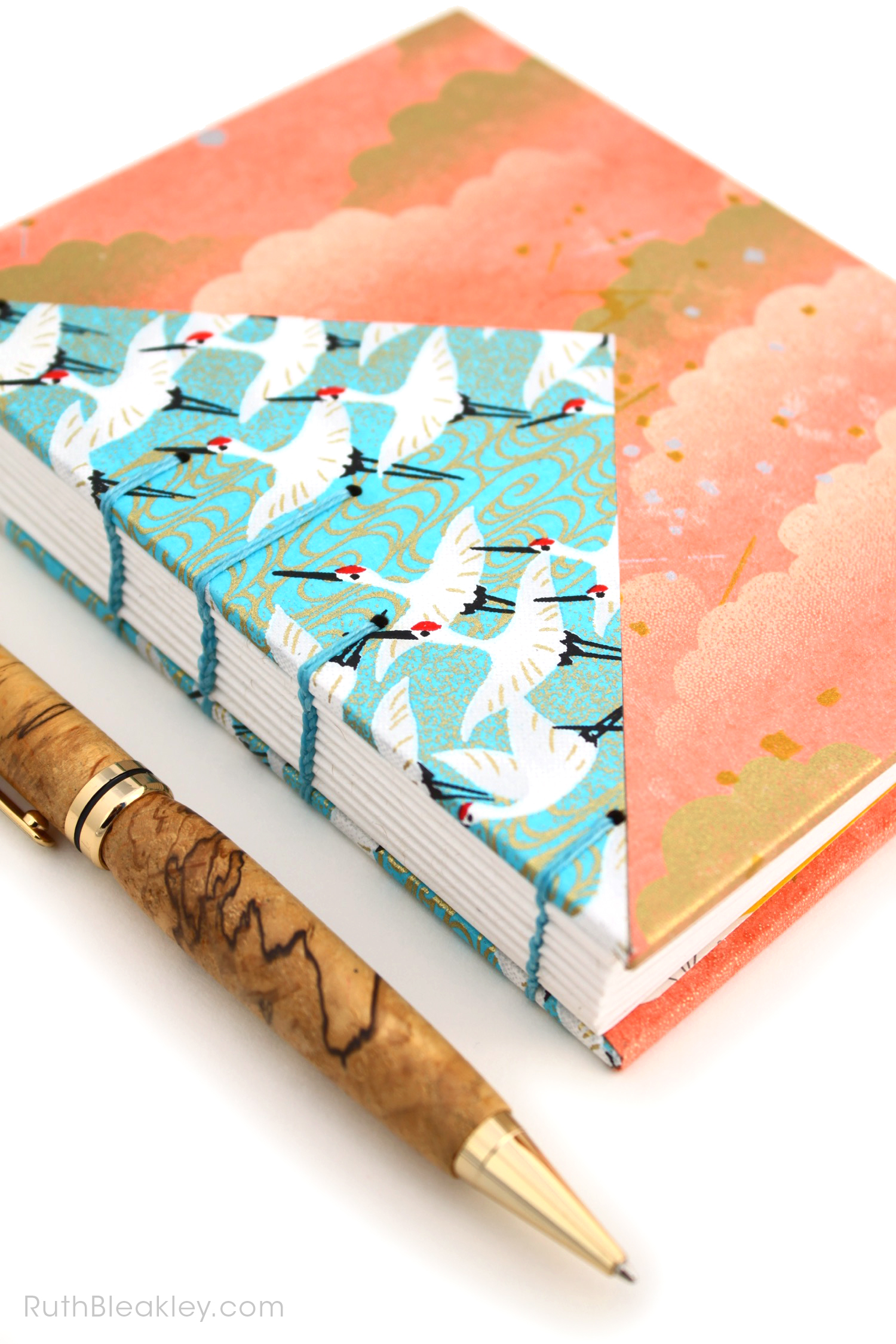 Blue Cranes and Peach Cloud Twin Journals by Ruth Bleakley that lay flat when open - 3