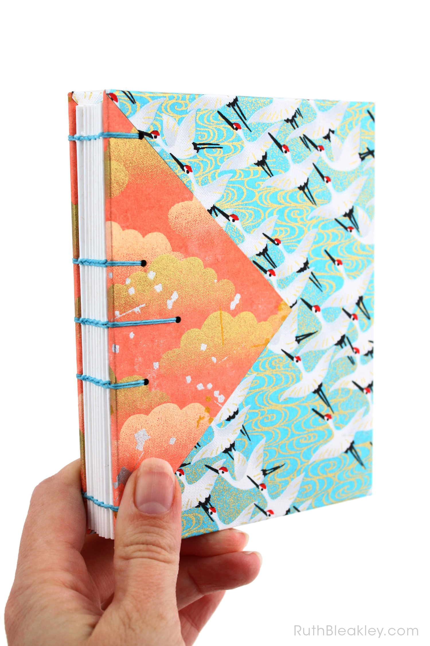Blue Cranes and Peach Cloud Twin Journals by Ruth Bleakley that lay flat when open - 5