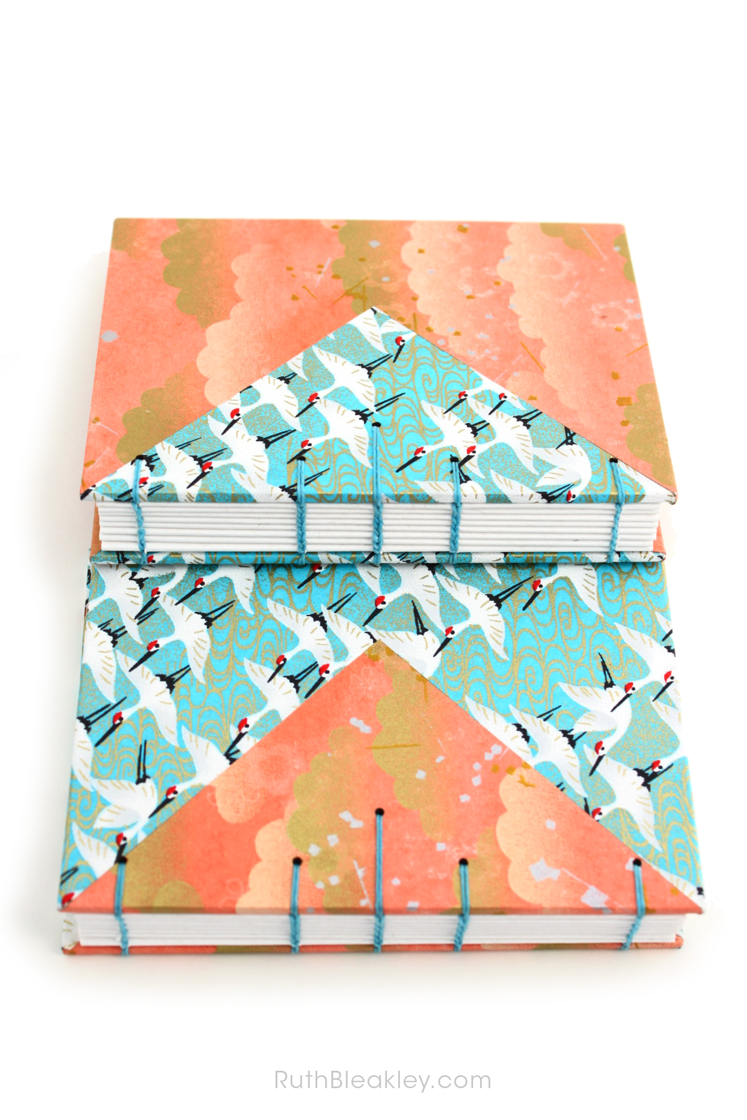 Blue Cranes and Peach Cloud Twin Journals by Ruth Bleakley that lay flat when open - 7
