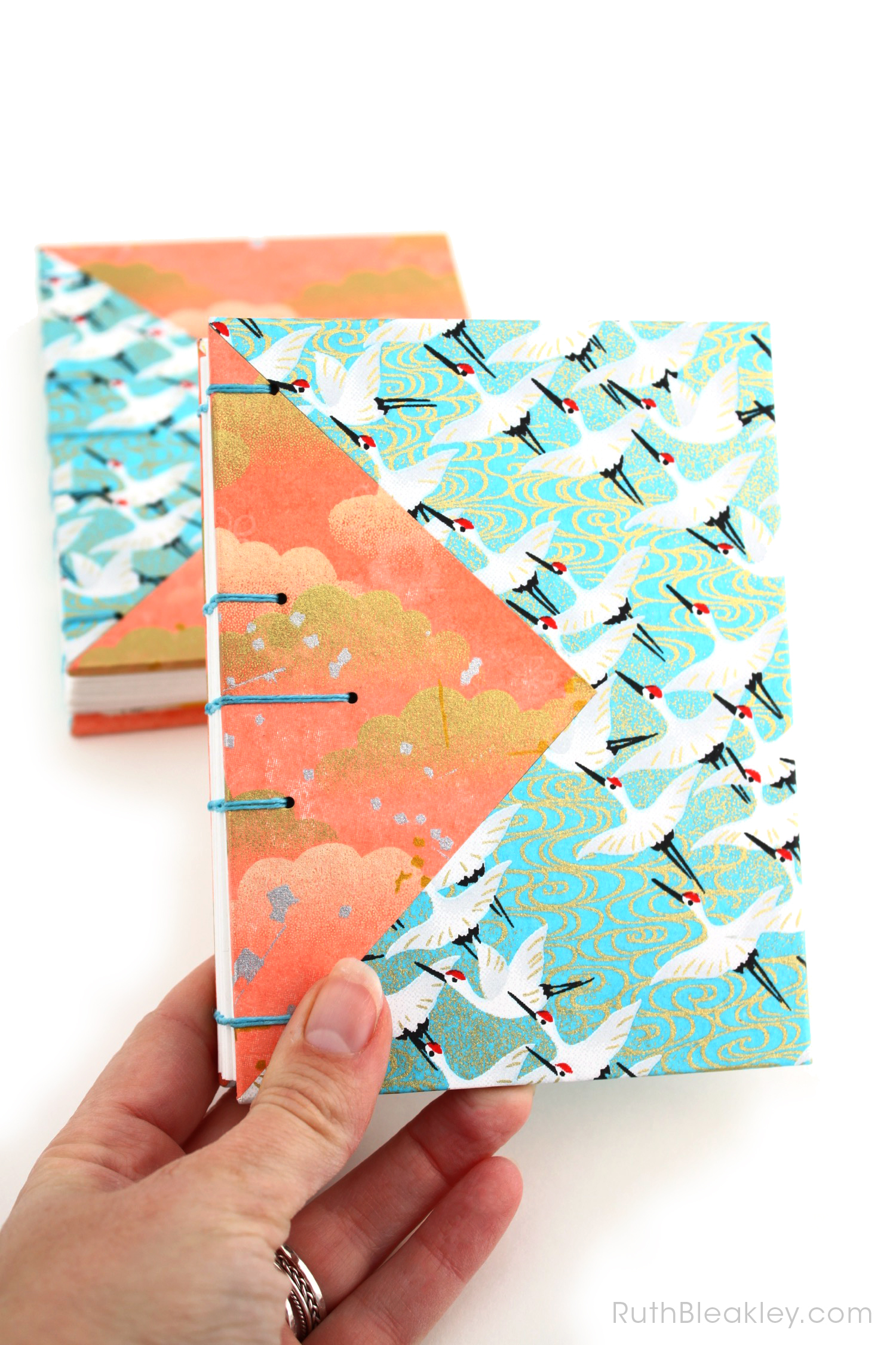 Blue Cranes and Peach Cloud Twin Journals by Ruth Bleakley that lay flat when open - 9