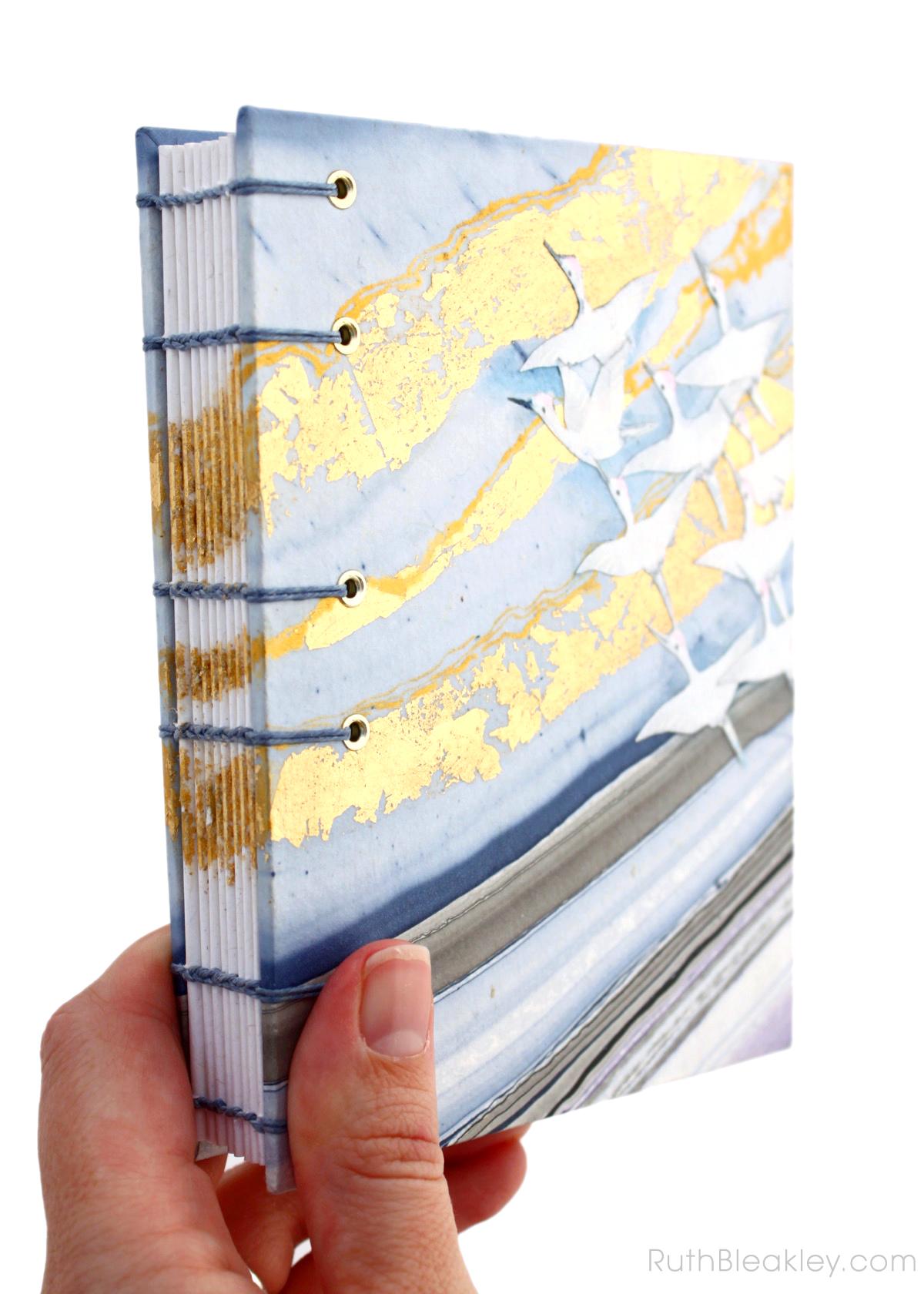 Golden Cranes Journal handmade by book artist Ruth Bleakley - 1