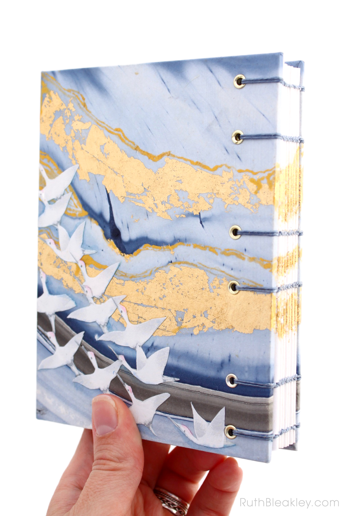 Golden Cranes Journal handmade by book artist Ruth Bleakley - 3