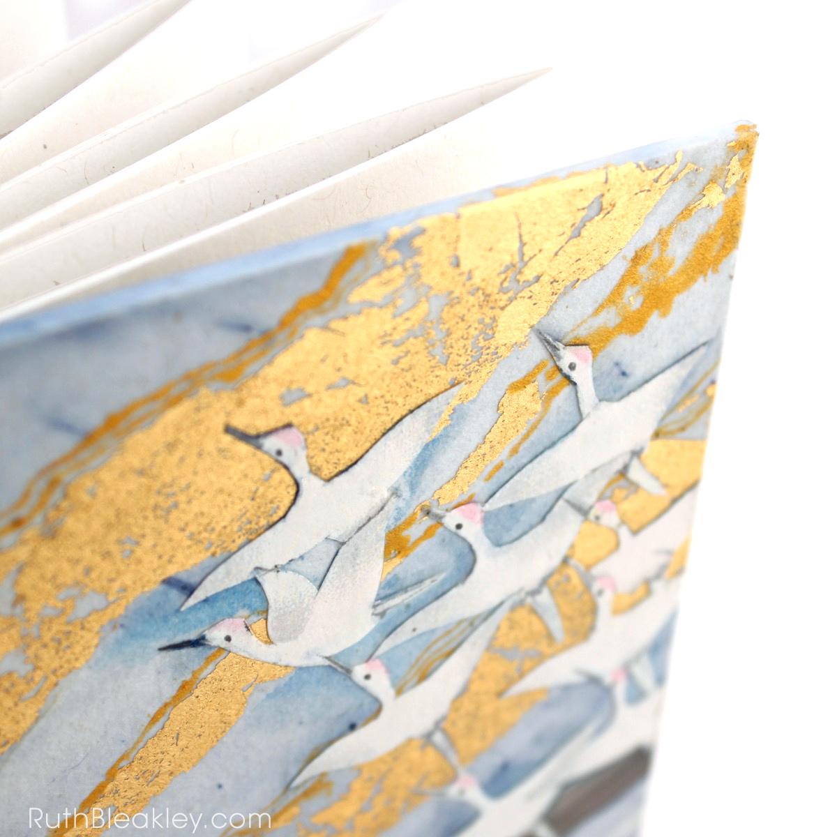 Golden Cranes Journal handmade by book artist Ruth Bleakley - 4