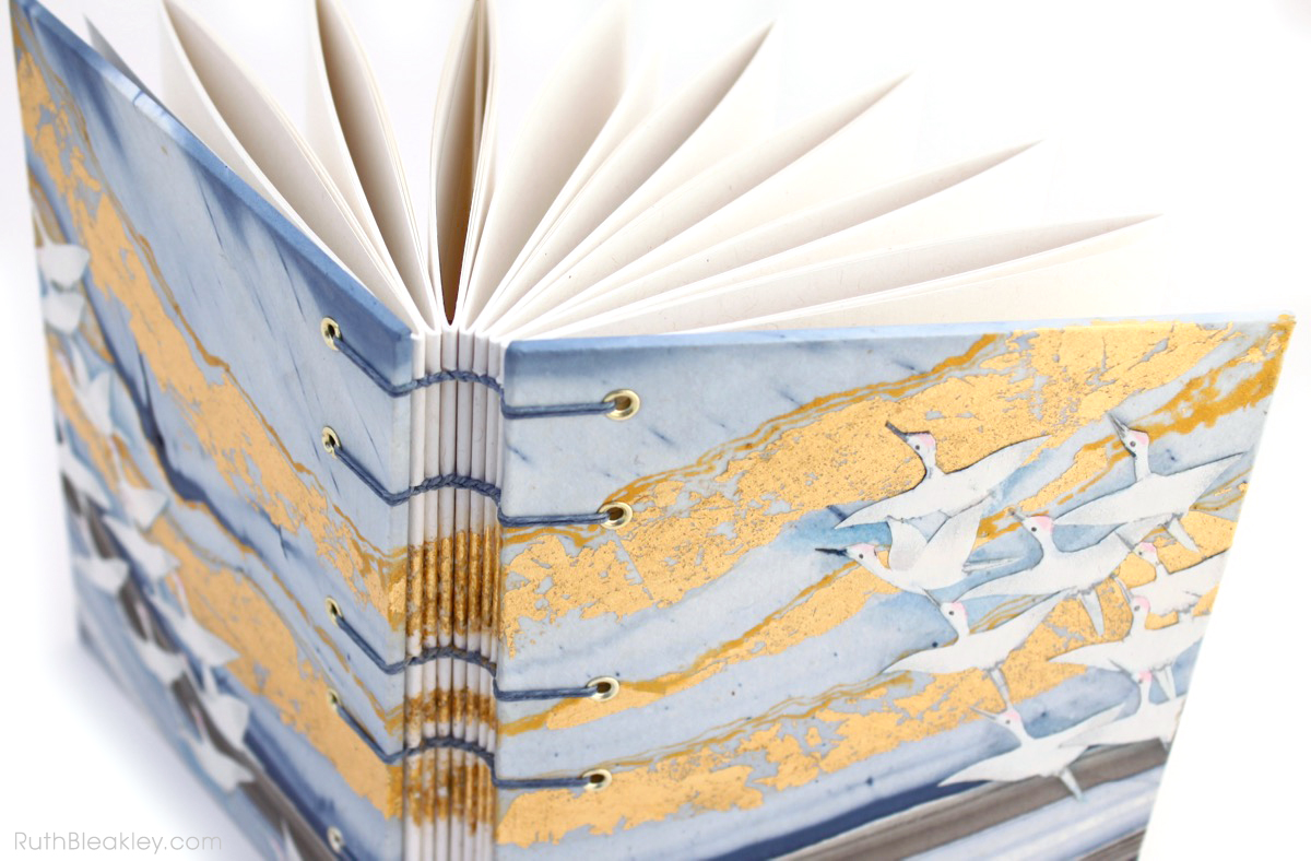 Golden Cranes Journal handmade by book artist Ruth Bleakley - 5