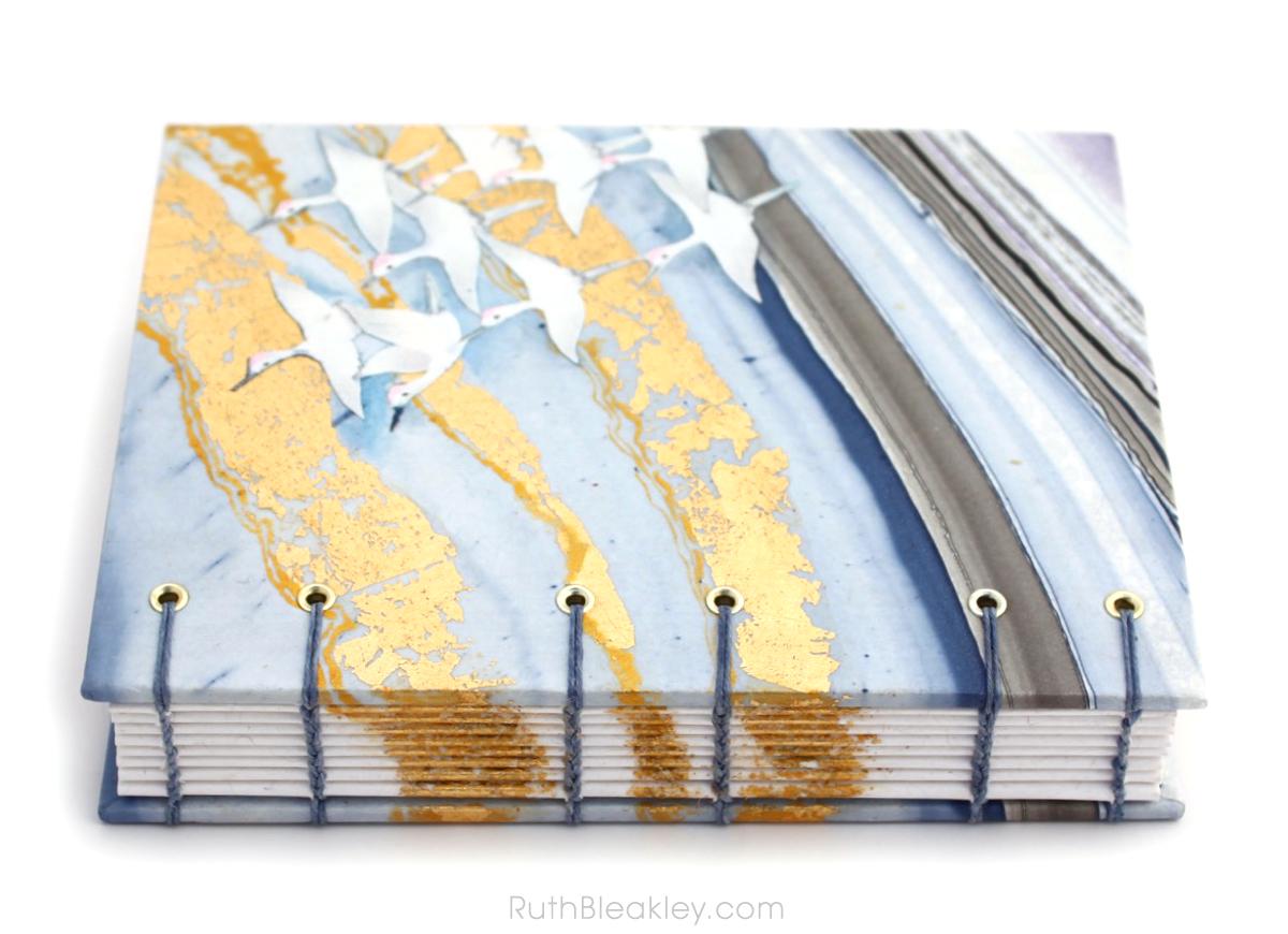 Golden Cranes Journal handmade by book artist Ruth Bleakley - 6
