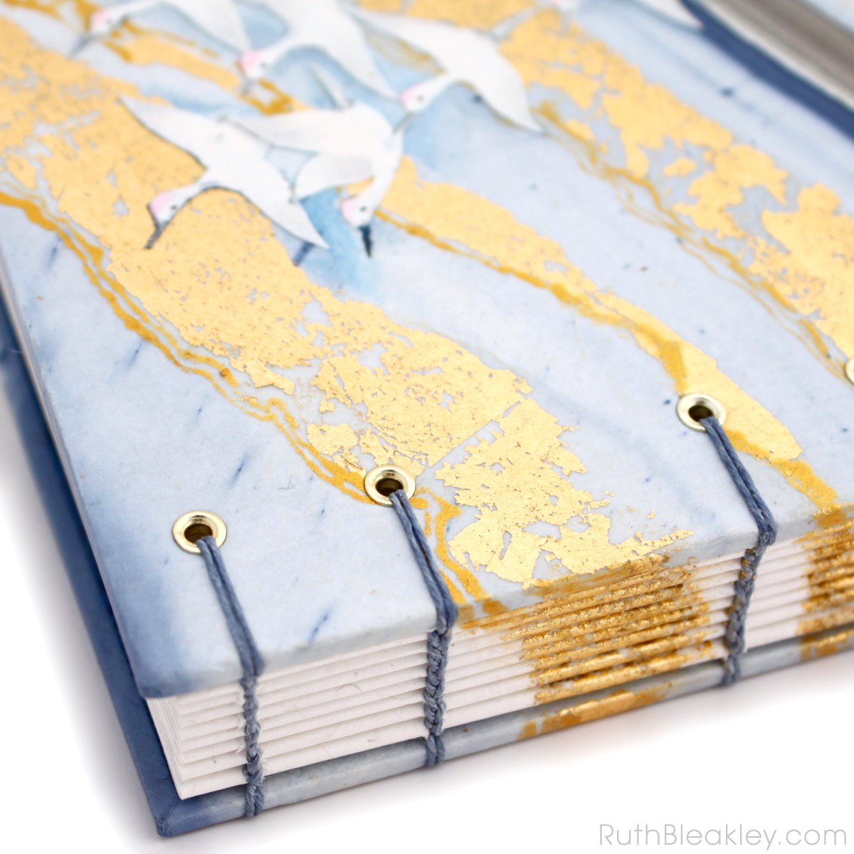 Golden Cranes Journal handmade by book artist Ruth Bleakley - 8