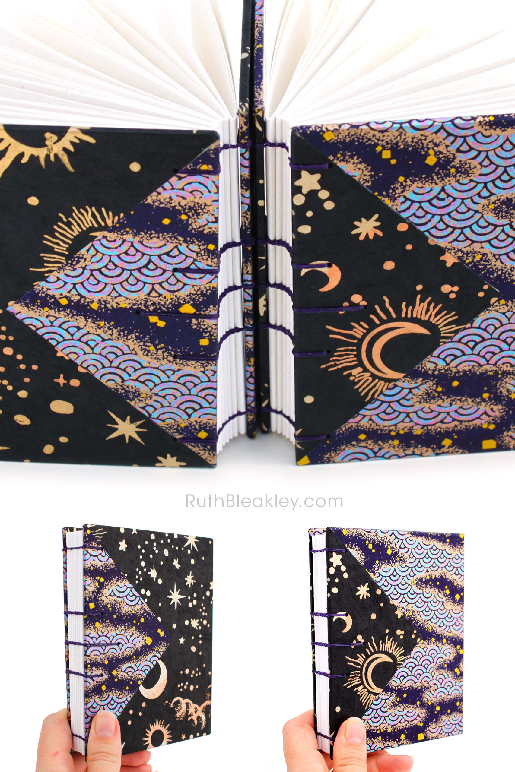 Two black and purple handmade journals by Ruth Bleakley with cosmic imagery